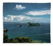 Tropical Island In The Ocean Fleece Blanket