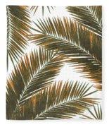Tropical Palm Leaf Pattern 6 - Tropical Wall Art - Summer Vibes - Modern, Minimal - Brown, Copper Fleece Blanket