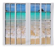 Tropical Paradise Beach Day Windows Fleece Blanket
