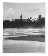 Tuna Punta Lighthouse Black And White Fleece Blanket