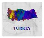 Turkey, Map, Artist Singh Fleece Blanket