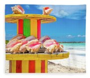 Turks And Caicos Conchs On A Spool Fleece Blanket