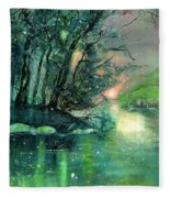 Twilight At The River Rhine Fleece Blanket