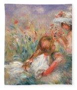 Two Children Seated Among Flowers, 1900 Fleece Blanket