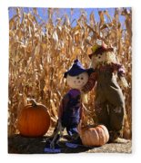 Two Cute Scarecrows With Pumpkins In The Dry Corn Field Fleece Blanket