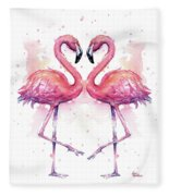 Two Flamingos In Love Watercolor Fleece Blanket