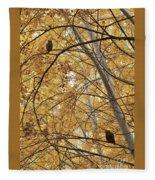 Two Owls In Autumn Tree Fleece Blanket