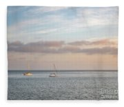 Two Sail Boats In Ocean Sea Facing The Sunset During The Golden  Fleece Blanket