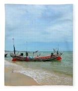 Two Thai Fishermen Take Equipment Onto Boat At Seaside Pattani Thailand Fleece Blanket