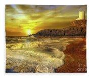 Twr Mawr Lighthouse Sunset Fleece Blanket