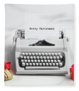 Typewriter With Merry Christmas Text And Gifts Fleece Blanket