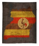 Uganda Country Flag Map Fleece Blanket