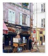 Un Artiste A La Place Du Tertre Paris. Fleece Blanket