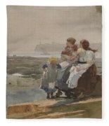 Under The Cliff, Cullercoats , 1881 Fleece Blanket