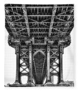 Under The Manhattan Bridge Bw Fleece Blanket by Susan Candelario