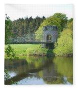 Union Chain Bridge At Horncliffe On River Tweed Fleece Blanket