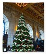 Union Station Decorates For Christmas In Kansas City Fleece Blanket