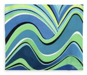 Untitled  Abstract Blue And Green Fleece Blanket