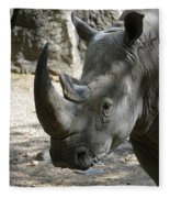 Up Close Look At The Face Of A Rhinoceros Fleece Blanket
