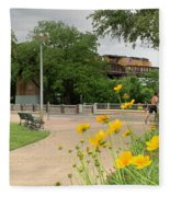 Urban Pathways Butler Park At Austin Hike And Bike Trail With Train Fleece Blanket