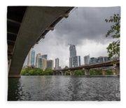 Urban Skyline Of Austin Buildings From Under Bridge With Stormy  Fleece Blanket