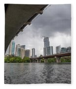Urban Skyline Of Austin Buildings From Under Bridge With Stormy  Fleece Blanket