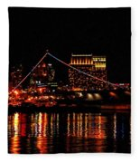 Uss Midway At Night Fleece Blanket
