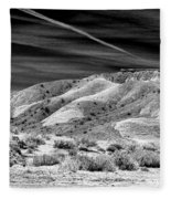 Valley Of Fire Black White Nevada  Fleece Blanket