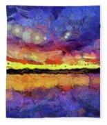 Van Gogh Sunset Reflection Fleece Blanket
