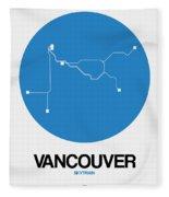 Vancouver Blue Subway Map Fleece Blanket