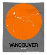 Vancouver Orange Subway Map Fleece Blanket