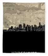 Vancouver Skyline Map Fleece Blanket
