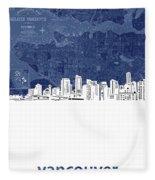 Vancouver Skyline Map Blue Fleece Blanket