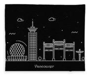Vancouver Skyline Travel Poster Fleece Blanket