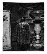 Vapo-cresolene Vaporizer And Bottle Respiratory Remedy Black And White Fleece Blanket