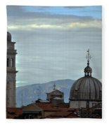 Venice Tower And Dome Fleece Blanket