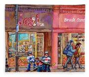 Verdun Montreal Storefront Painting Jessie Et Cie Beaute Candy Nail Shop Hockey Artist C Spandau Art Fleece Blanket
