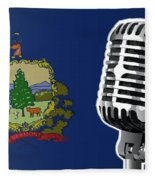 Vermont Flag And Microphone Fleece Blanket