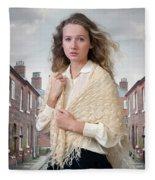 Victorian Woman On A Cobbled Terraced Street Fleece Blanket