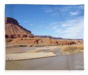 View At Sorrel River Ranch On The Colorado River Near Moab, Utah Fleece Blanket
