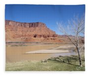 View From A Cabin At Sorrel River Ranch On The Colorado River Ne Fleece Blanket