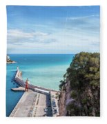 View From Castle Hill To The Sea In Nice Fleece Blanket