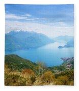 View From Rifugio Menaggio Lake Como Italy Fleece Blanket