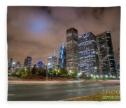 View Of Chicago Skyscrappers With Busy Street In The Foreground Fleece Blanket