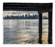 View Of Downtown Seattle At Sunset From Under A Pier Fleece Blanket