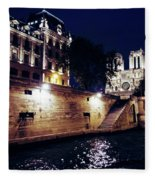 View Of Notre Dame From The Sienne River In Paris, France Fleece Blanket