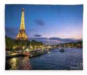 View Of The Eiffel Tower During Sunset From The Scene River Fleece Blanket