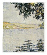 View Of The Seine At Herblay     Fleece Blanket