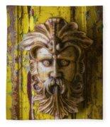 Viking Mask On Old Door Fleece Blanket