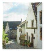 village cobbled lane in Culross Fleece Blanket